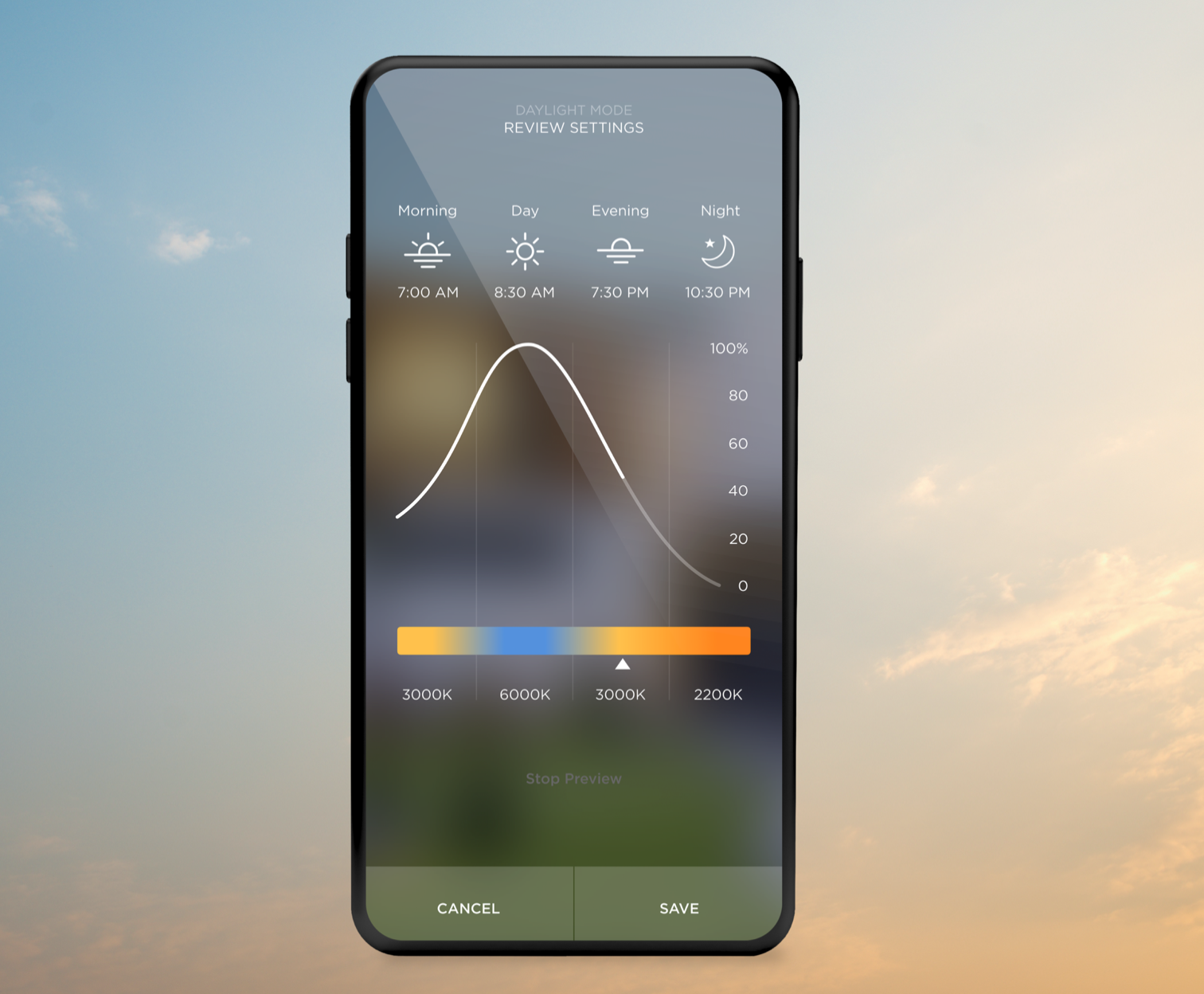 Savant's new feature called Daylight Mode can align lighting schemes to match the natural circadian progression based on the time of day.